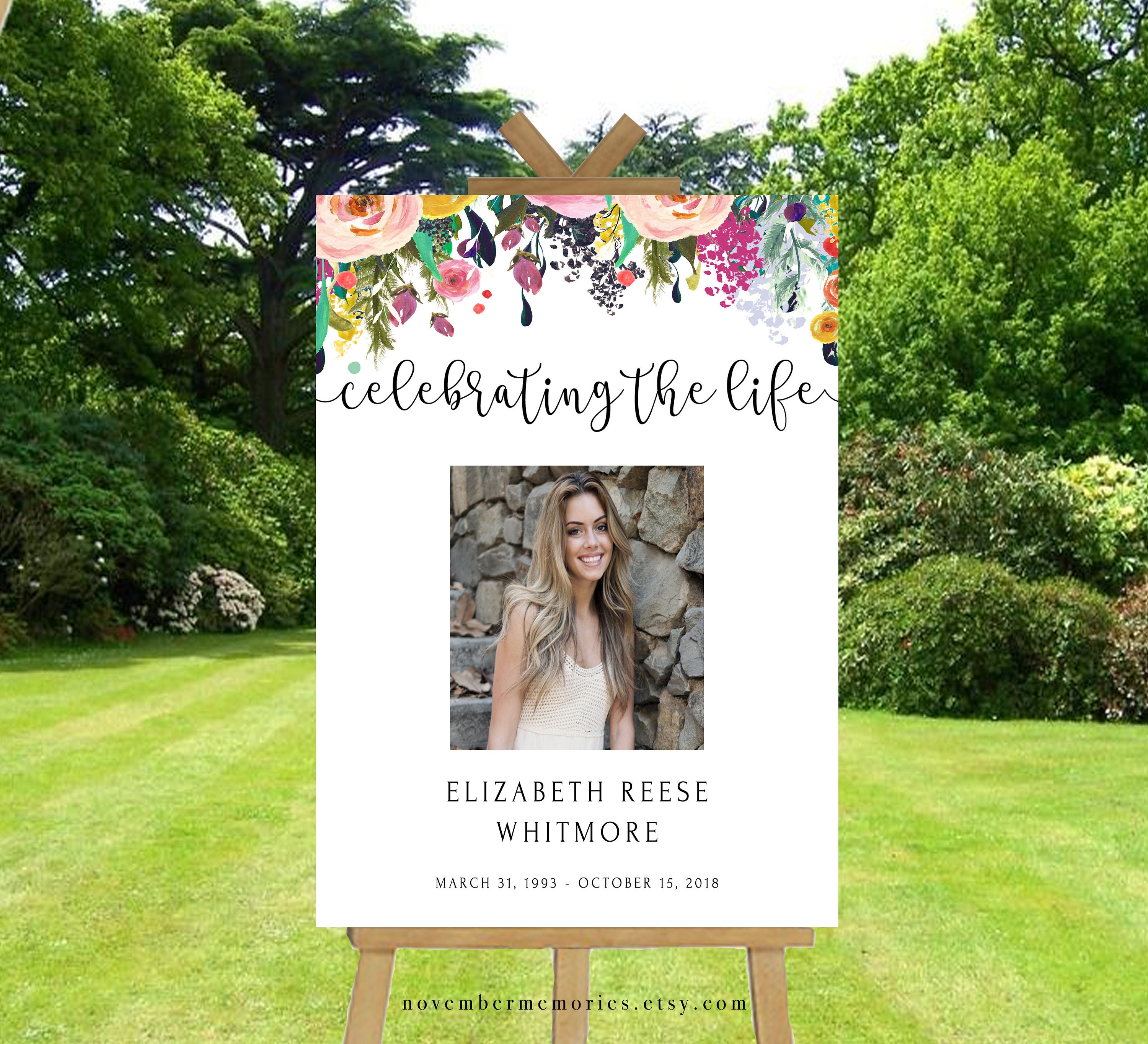 Celebration of life decorations template banner funeral decor etsy celebration of life decorations template banner funeral decor life celebration memorial service ideas with photo photo sign floral colorful izmirmasajfo
