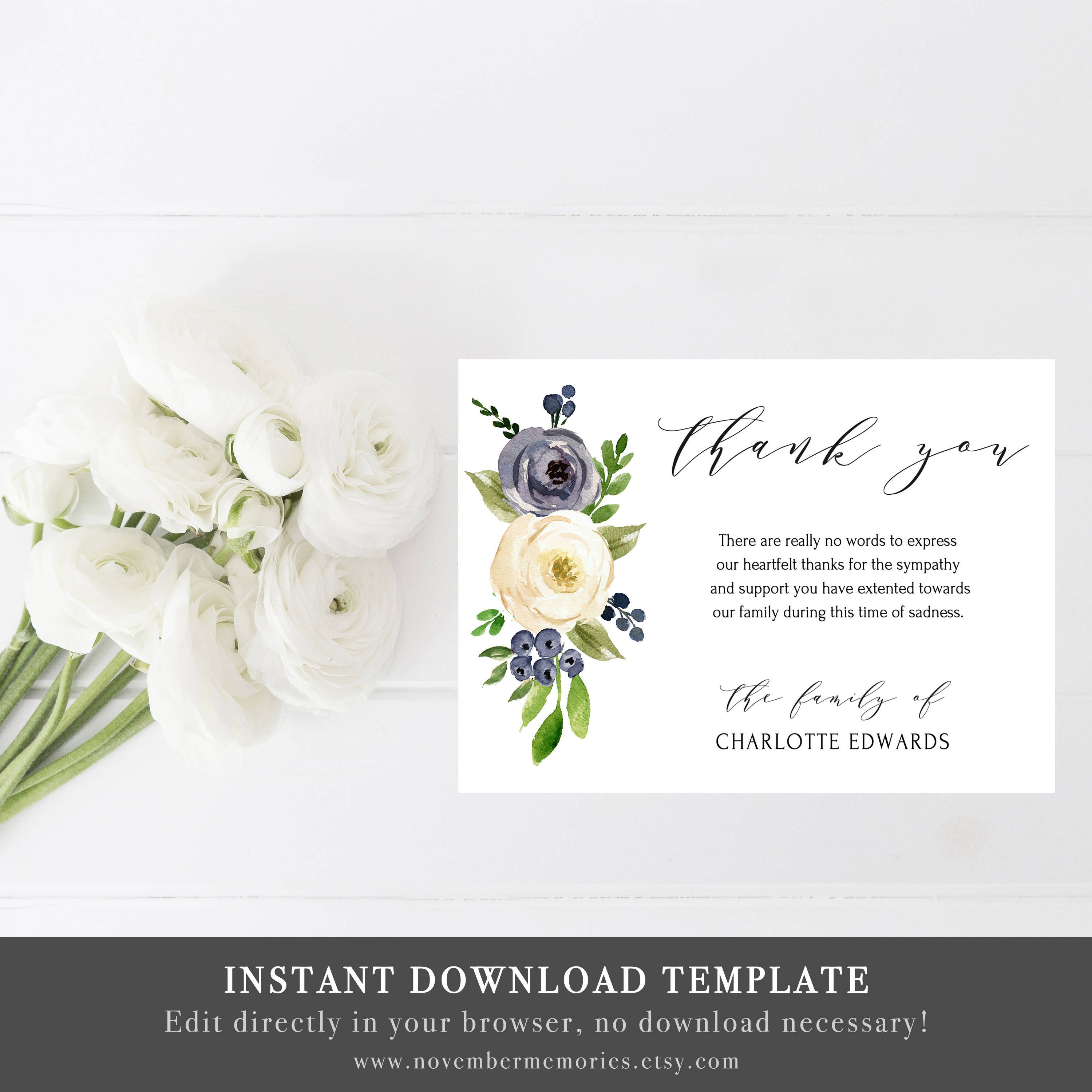 Memorial thank you cards thank you notes funeral card template etsy memorial thank you cards thank you notes funeral card template thank you cards printable bereavement card sympathy acknowledgment editable izmirmasajfo
