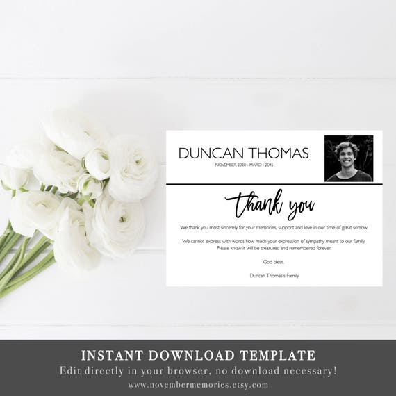 Funeral Thank You Cards With Photo Funeral Thank You Cards Etsy