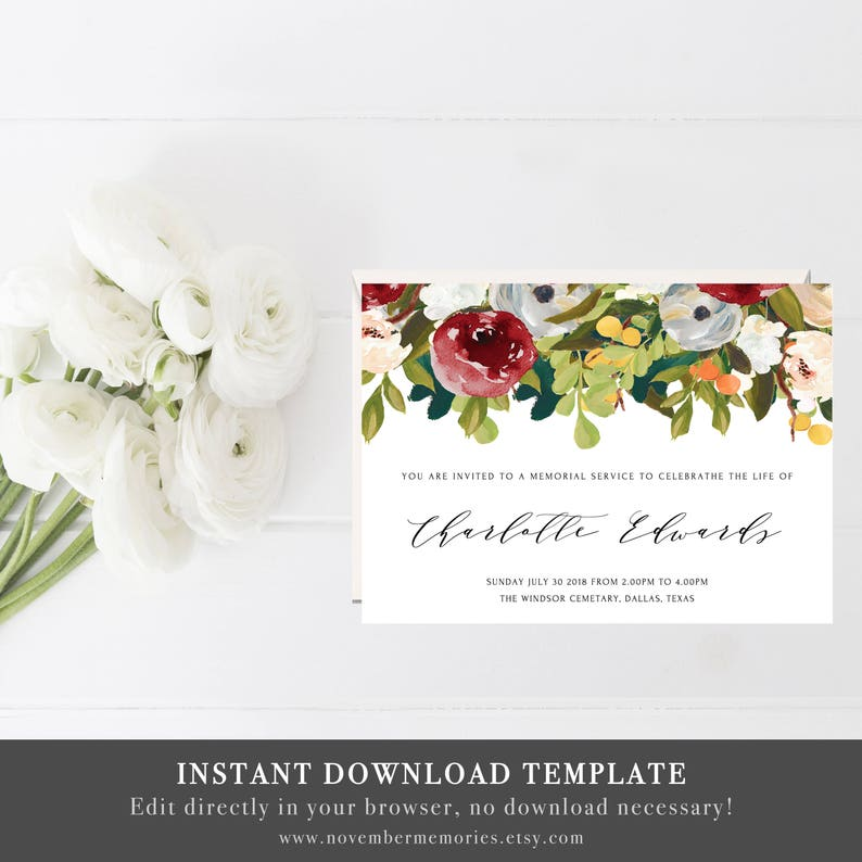 Printable Burgundy Memorial Service Ideas Invitations Card Funeral Invitation Cards Announcement PDF