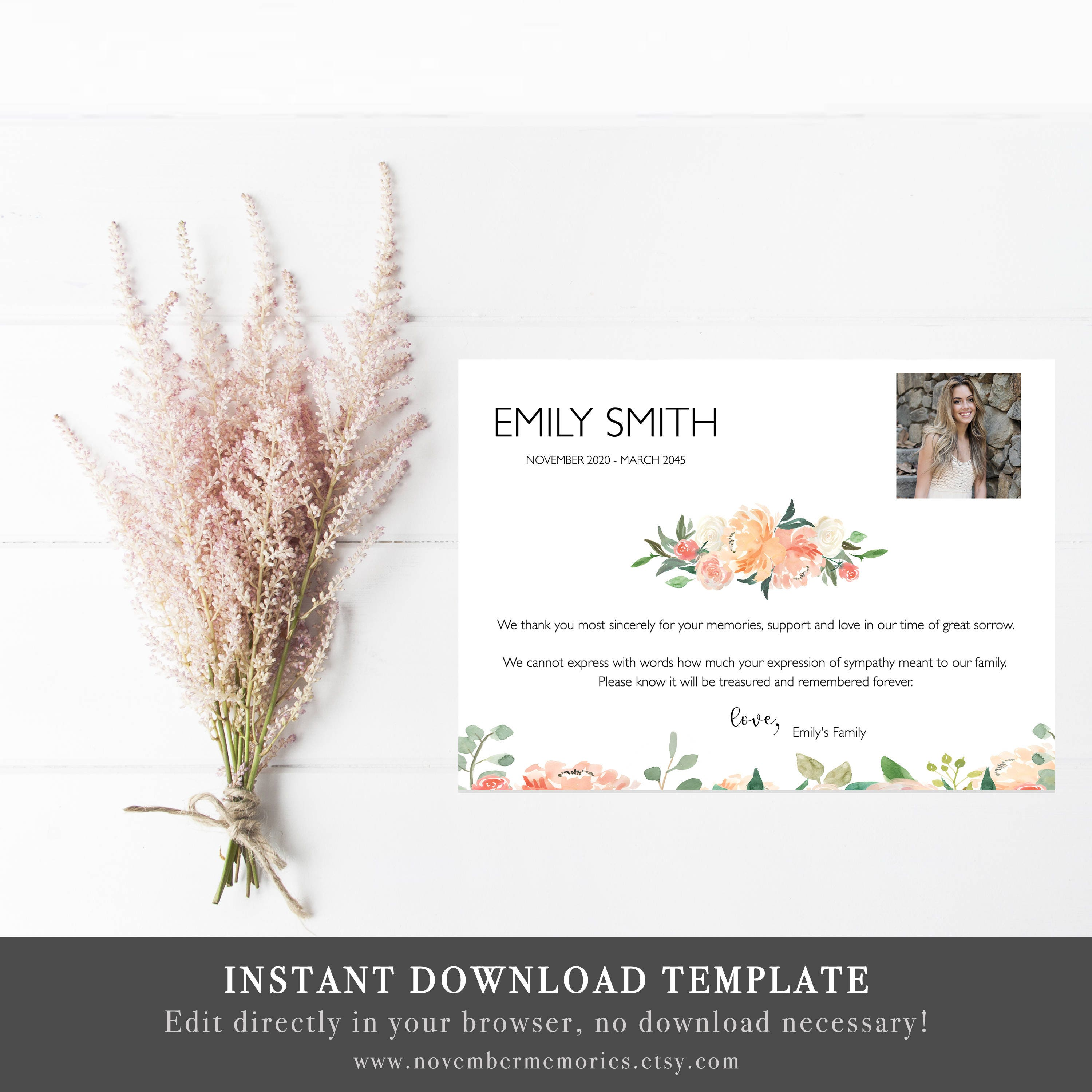 Funeral Thank You Cards With Photo Funeral Acknowledgment Card Etsy