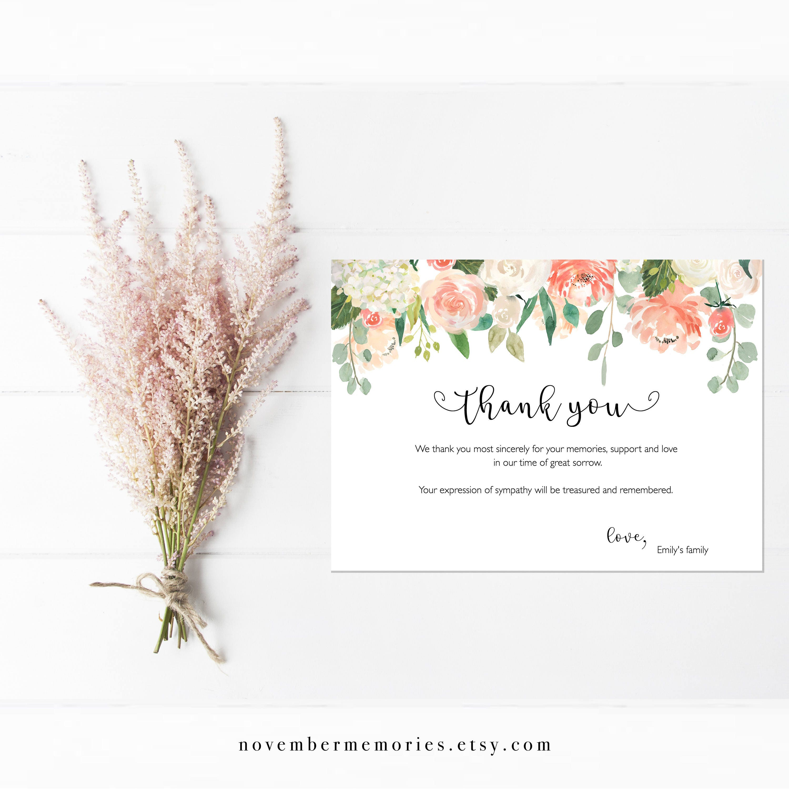 Floral Peach Funeral Acknowledgement Card Sympathy Etsy