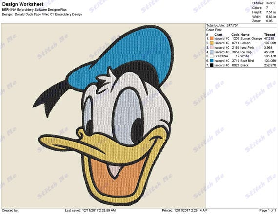 Instant Download 3 Sizes 4x4-5x7-6x10 Donald Duck Face Filled 07 Embroidery Design