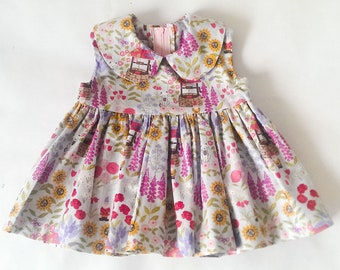 Grandma's garden sleeveless dress, baby dress, Peter Pan collar, Party dress