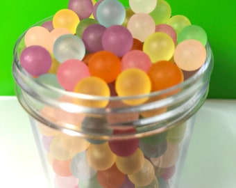 300 pcs  Transparent Acrylic Beads, Frosted, Mixed Color, No Hole , 8mm