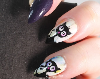 10 Water Colour Black Cat Nails, Press On Nails, Glue on Nails, Full Coverage Nails