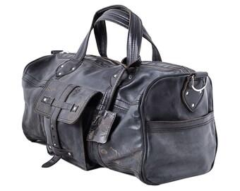 Kozak flowers black road bag, duffel bag, leather travel bag, overnight bag, sports duffle bag, weekend bag, shoulder bag, leather handbag