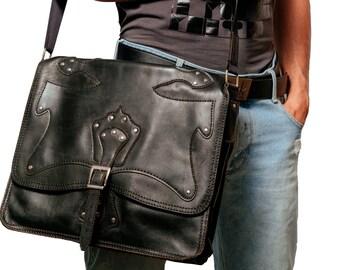 4d47f6437 Messenger black bag, SOFT, UNISEX, hand stitched, 15