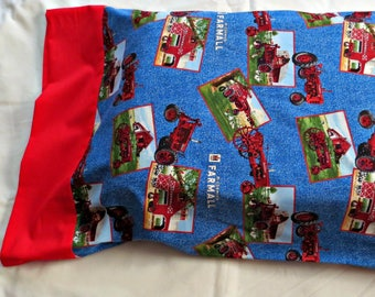 New IH Farmall Post Card Pillow Case Blue Background withRed Trim Fits Standard Pillow Features the Following Barns & Old Farmall Tractors