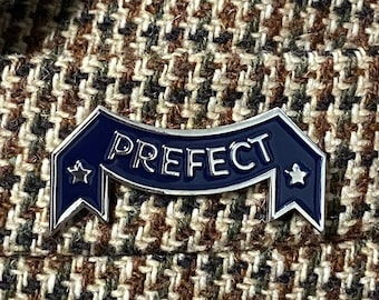 Prefect vintage enamel pin blue and silver