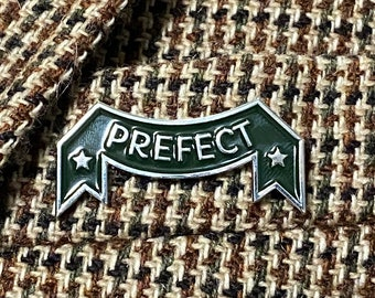 Prefect vintage enamel pin green and silver wizarding