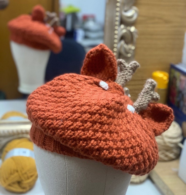 Deer beret hat fall autumn Halloween wool crochet goblincore image 1