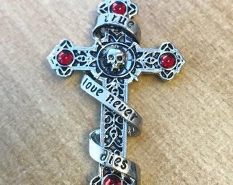 True Love Never Dies Skull Crystal Cross Pendant Fantasy Celtic Anniversary Wedding Valentine Gothic Goth Punk