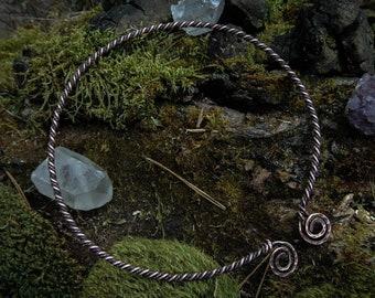 Viking torc necklace, Swirl torque , Medieval Necklace, Celtic torq necklace, Copper torc necklace, viking jewelry,pagan asatru