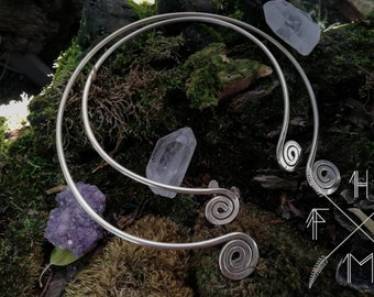 Viking torc necklace, Celtic spiral brass torq, Historical reenactment neck ring, norse pagan asatru jewelry, couples neck ring