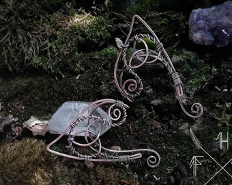Elf ears, Fantasy elf earcuffs,  Elven ear earrings, triquetra  elf ears, witchy elf ear, Dainty earcuff earring, Elven jewelry, elf bride