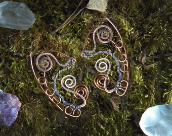 Elf ears, Fantasy elf ear cuffs, Elven ear earrings, Elvish ears, Aged Copper elf ears,Non-piercing cuffs, Elven jewelry, steampunk elf ears
