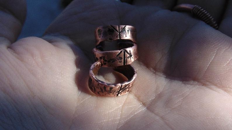 Copper elder futhark rune ear cuff dwarven earcuff earrings dainty norse jewelry viking no-piercing earring