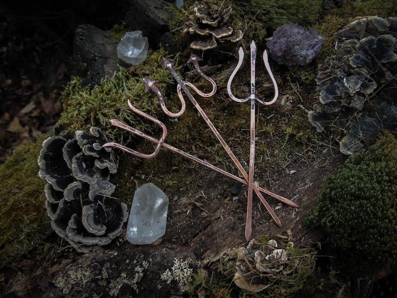 Bâton de cheveux de Trident en cuivre épingle à cheveux image 0