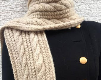Hand Knit Wool Cable Scarf
