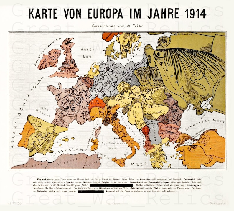 Wwi Germany Map.Ww1 German Map Of The World Caricature Poster Wwi Military Etsy