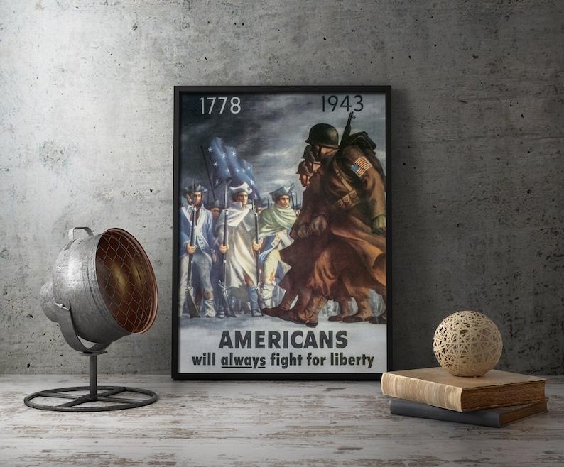 Military Collectibles Wall Art Decor Prints WW2 American Propaganda Poster