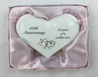 6c23714450 Russ White Lace and Promises 50th Anniversary Message Plaque 50 years of a  golden love golden hearts