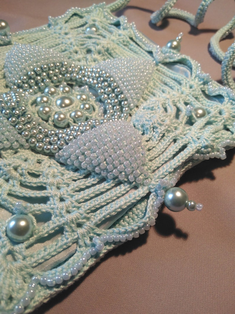 victorian princess purse Valentine/'s Day accessory vintage style sea blue pearls Crochet handbag with beads