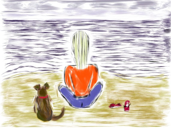 Soul Searchin' - Girl with dog on beach Fine Art Print.