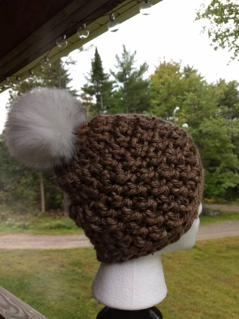 Dark Tan Crochet Hat with Furry Pom Pom