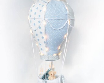 Blue Hot Air Balloon, textile room accessorize, hanging decor with lights garland, baby boy gift, wedding present