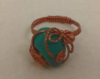 Turquoise bead and copper wire wrapped ring