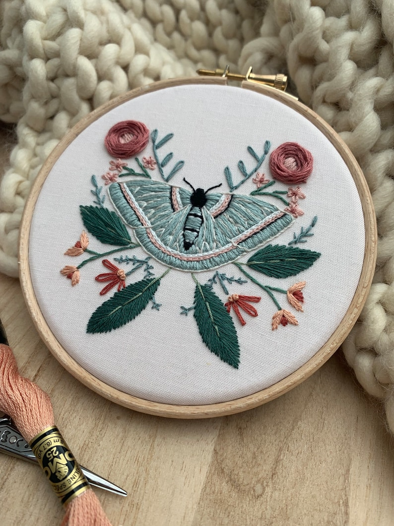 floral hand embroidery floral embroidery Moth Art Embroidery Moth Embroidery Hoop Embroidery Wall Art