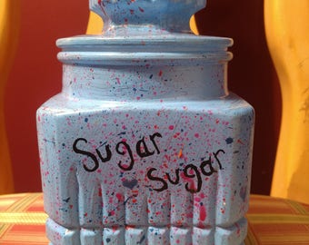 Hand painted thick glass candy jar with lid