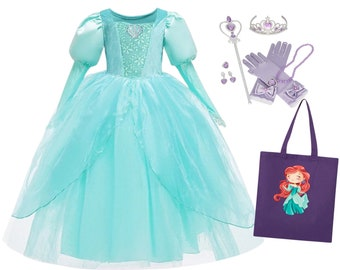 Ariel Little Mermaid dress, Ariel costume + PERSONALIZED TOTE BAG+ accessories, Ariel dress