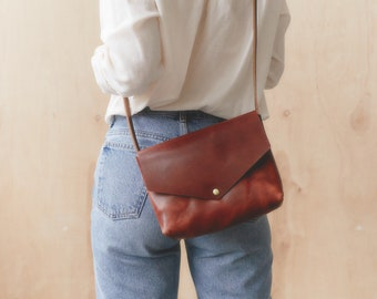 Miri Brown Leather Crossbody Purse Leather Envelope Bag Handmade Small Brown Leather Crossbody