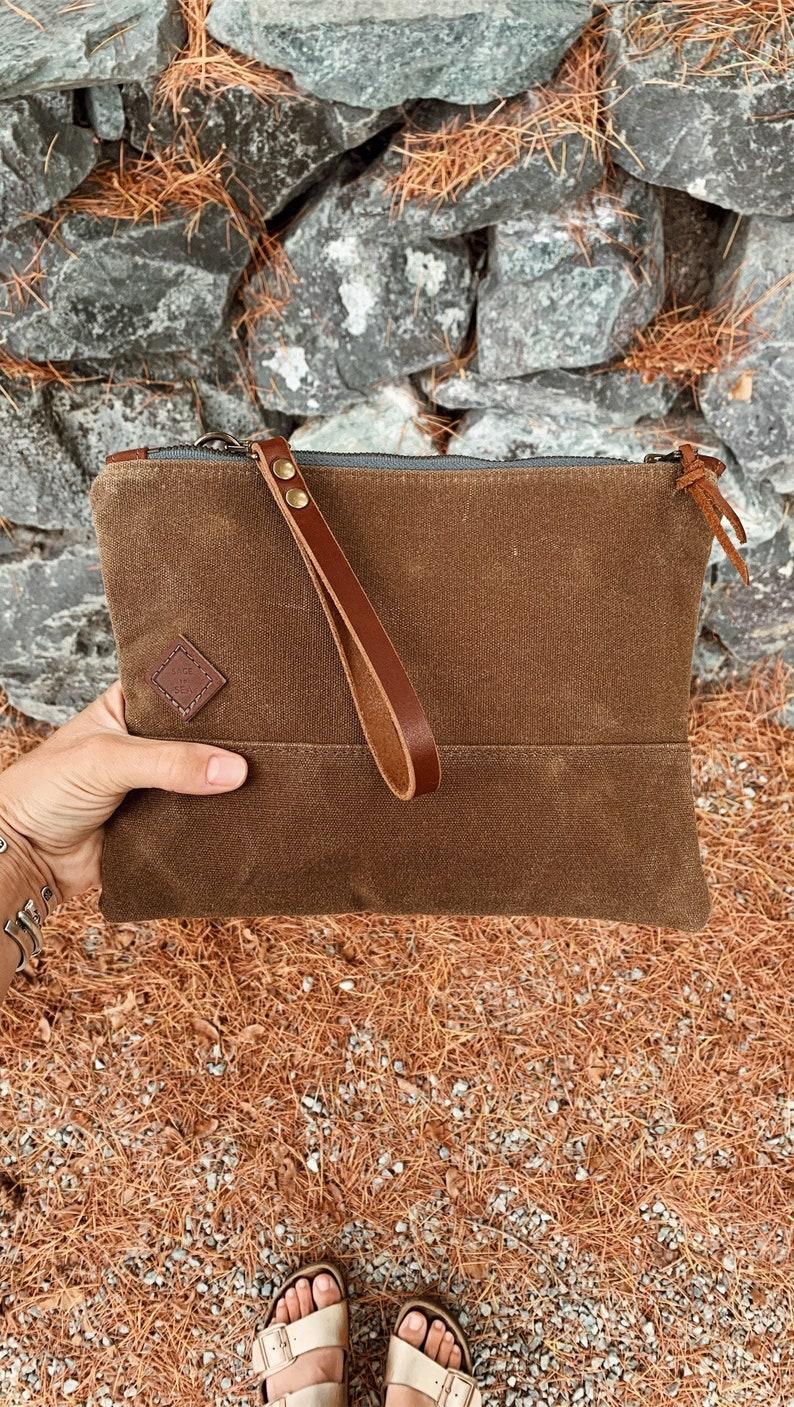 Handmade Large Brown Waxed Canvas Zipper Pouch Zipper Pouch