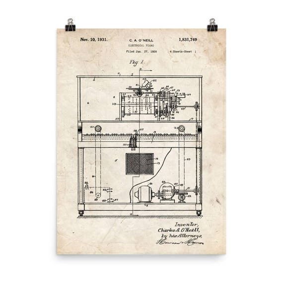 player piano patent blueprint poster vintage piano print etsy