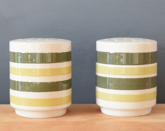 Green and Yellow Striped Salt and Pepper Shakers | Large Canister Shakers | Made in England | Mid Century Modern | Kitschy Kitchen Decor