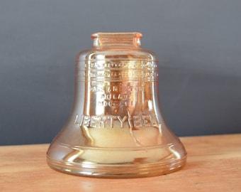 Peach Lustreware Liberty Bell Piggy Bank | Iridescent Orange Collectable Money Bank | Gift for Baby Nursery Decor | Baby Shower Present