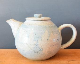 Handmade Pottery Teapot | Canadian Maple Leaf Speckled Glaze | Hygge Scandinavian | Minimalist Neutral | Birthday Christmas Present Gift