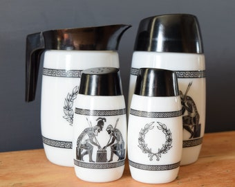 Van Pak Creamer Sugar Dispenser Salt and Pepper Shaker | Greek Mythology Tea Dinner Set | Monochrome Black and White | Gift for Her Him