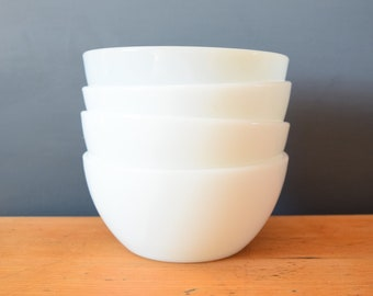 Milk Glass Bowls | Set of Four Cereal Bowls | Fireking Termocrisa Heat Proof | Collectible Keepsake | Housewarming Present Gift for Him Her
