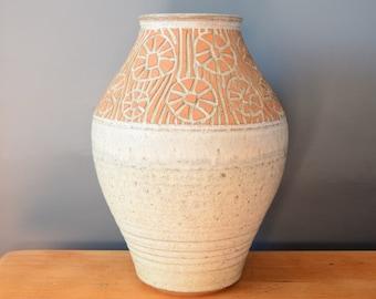Terracotta Floral Vase | Grey Clay Lava Vase | Striped Daisy Vessel | Reactive Glaze | Mid Century Modern | Flower Mantel Statement Present