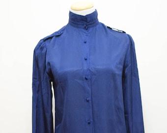 Blue Secretary Style Blouse   Jac Dale