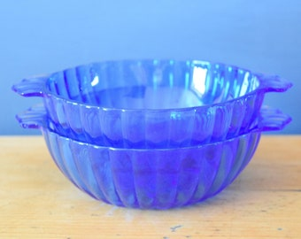 Cobalt Scalloped Dishes | Set of Two Small Bowls | Sapphire Blue Handled Glassware | Collectible Carnival Glass | Present Gift for Him Her