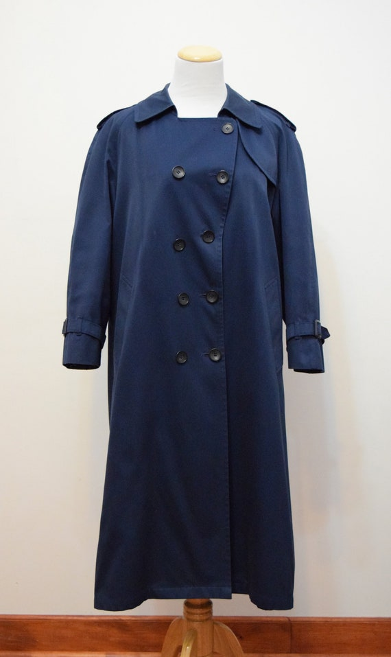 Navy Blue London Fog Trench Coat | 6 Petite