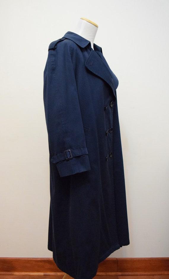 Navy Blue London Fog Trench Coat | 6 Petite - image 3