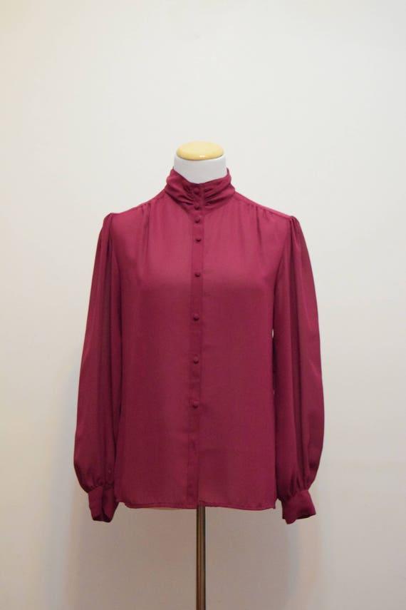 Sheer Secretary Style Blouse   Burgundy Rose High