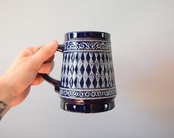 Marzi Remy German Stein | Blue Diamond Mug | Collectible Keepsake | Navy Stoneware | Housewarming Present Gift for Him Her | Retro Beer Cup
